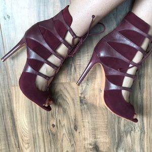 Burgundy lace up bootie heels